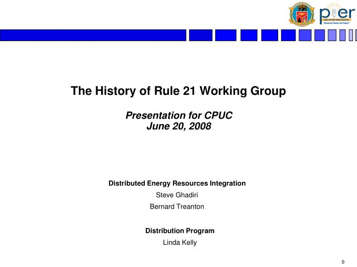 The history of rule 21 working group presentation for cpuc june 20 2008