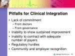 pitfalls for clinical integration