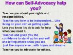 how can self advocacy help you
