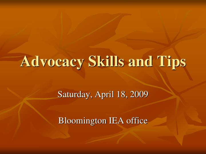 advocacy skills and tips n.