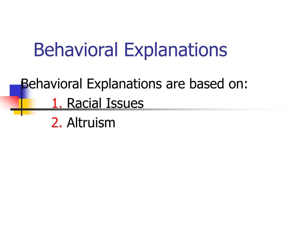 Behavioral Explanations
