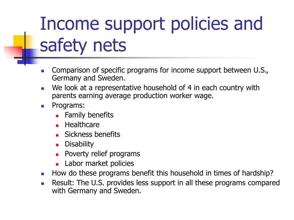 Income support policies and safety nets