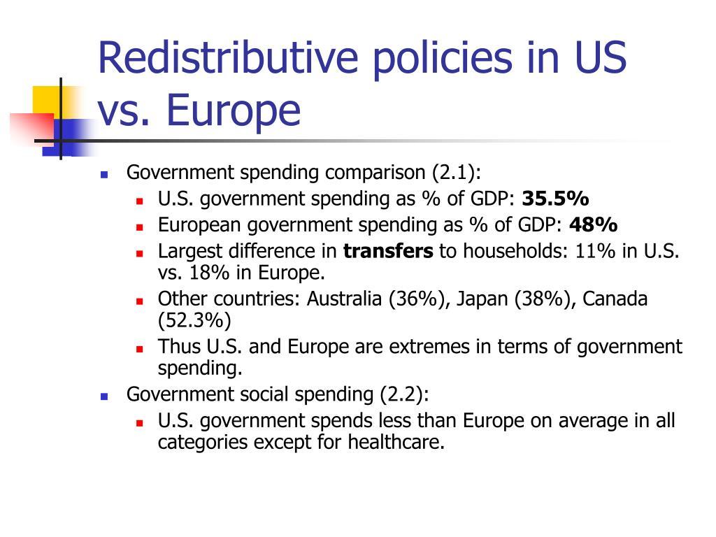 Redistributive policies in US vs. Europe
