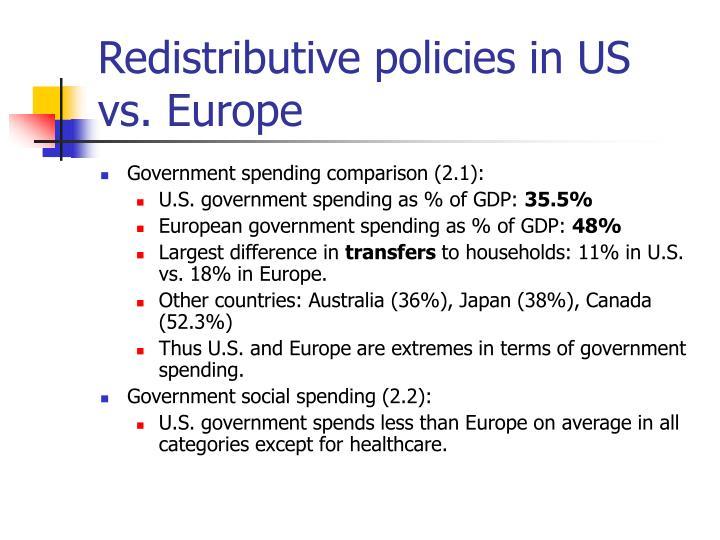 Redistributive policies in us vs europe
