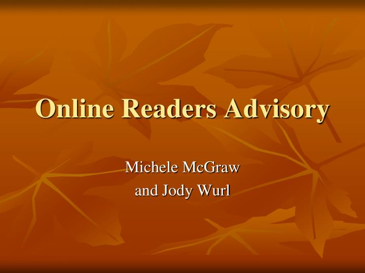 online readers advisory n.