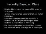 inequality based on class