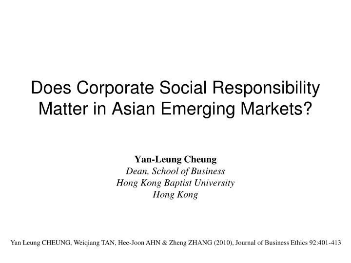 does corporate social responsibility matter in asian emerging markets n.