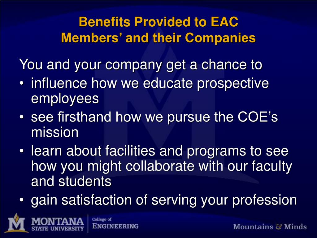 Benefits Provided to EAC