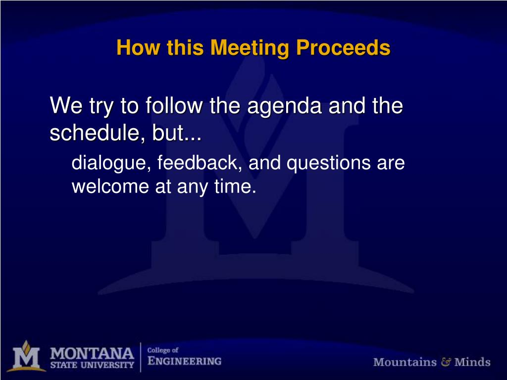 How this Meeting Proceeds