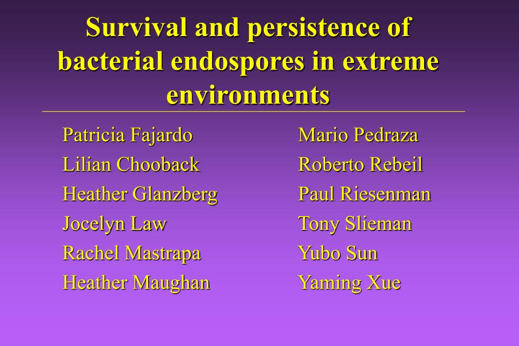 Survival and persistence of bacterial endospores in extreme environments