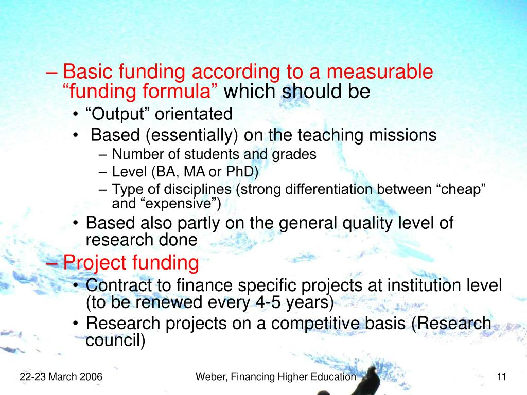 "Basic funding according to a measurable ""funding formula"""
