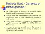 methods used complete or partial genome