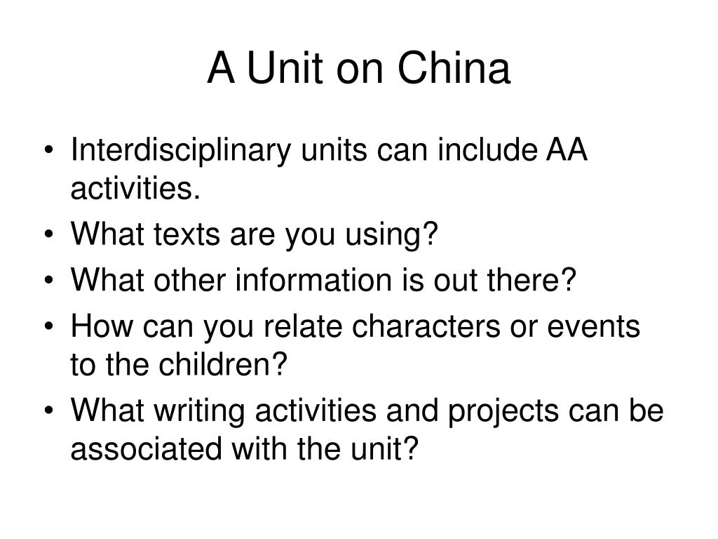 A Unit on China
