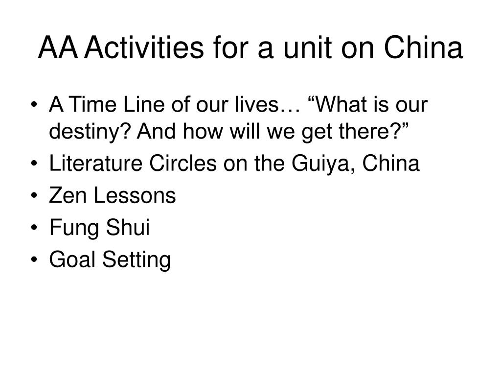 AA Activities for a unit on China