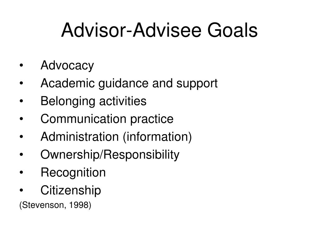 Advisor-Advisee Goals