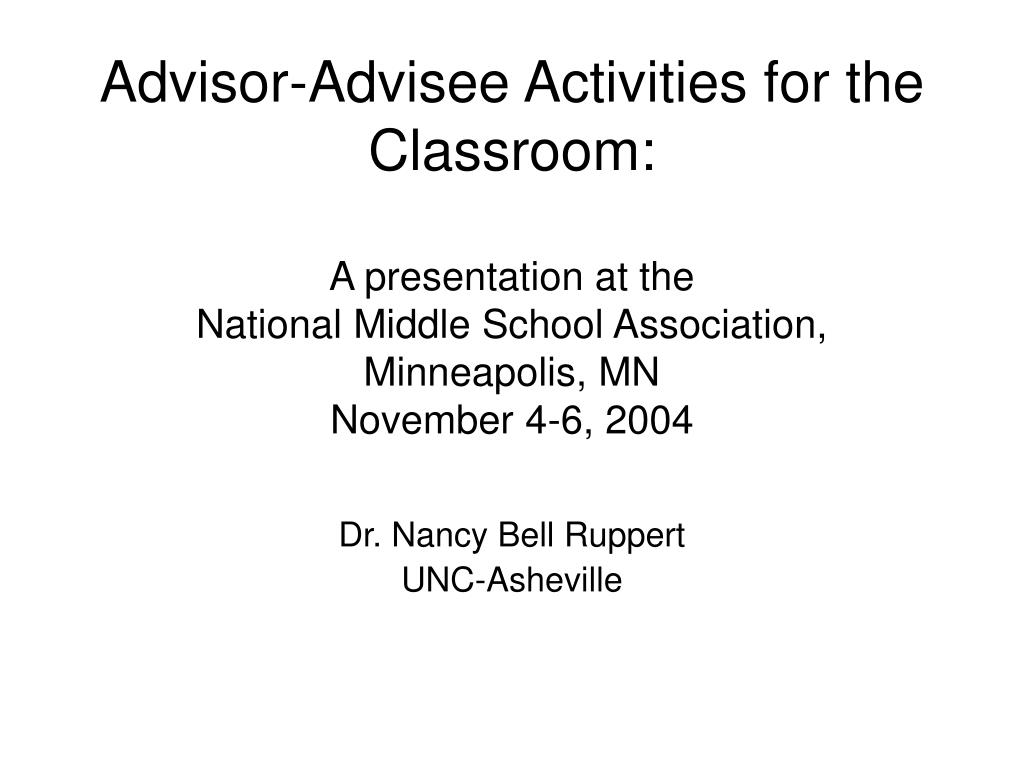 Advisor-Advisee Activities for the Classroom: