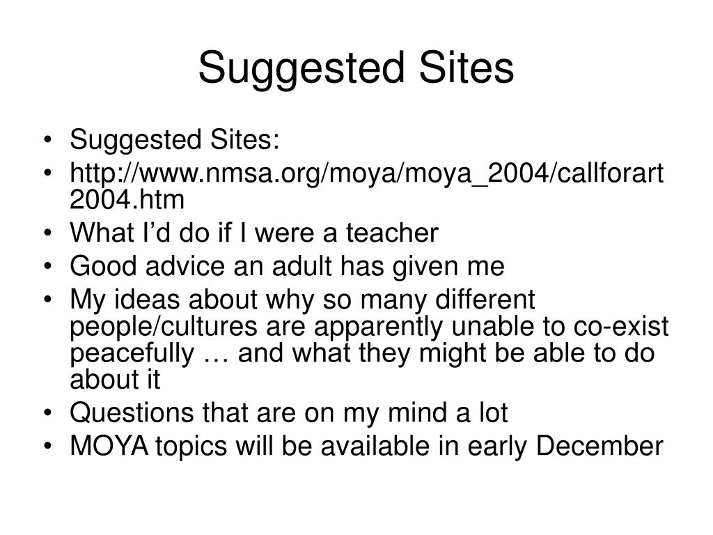 Suggested Sites