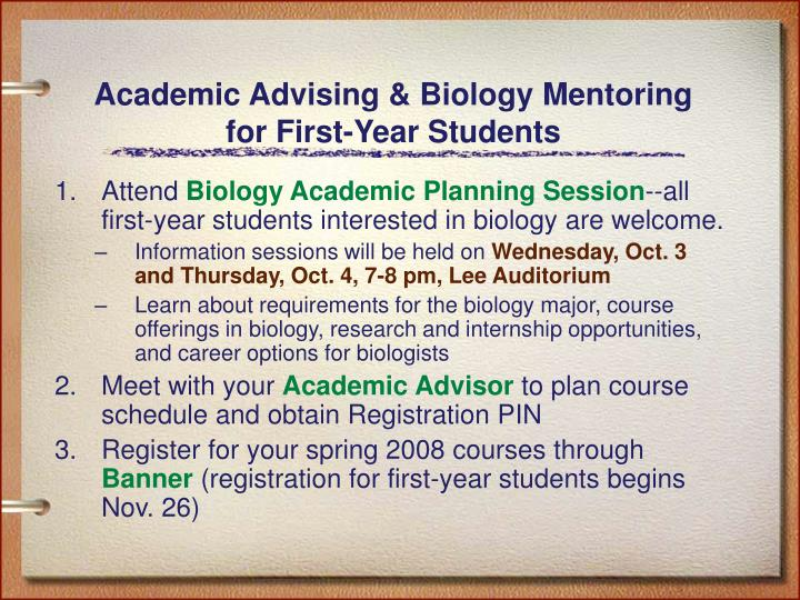 Academic advising biology mentoring for first year students