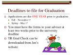 deadlines to file for graduation