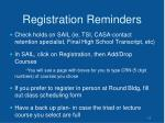 registration reminders