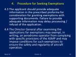 4 procedure for seeking exemptions