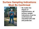 surface sampling indications must be confirmed