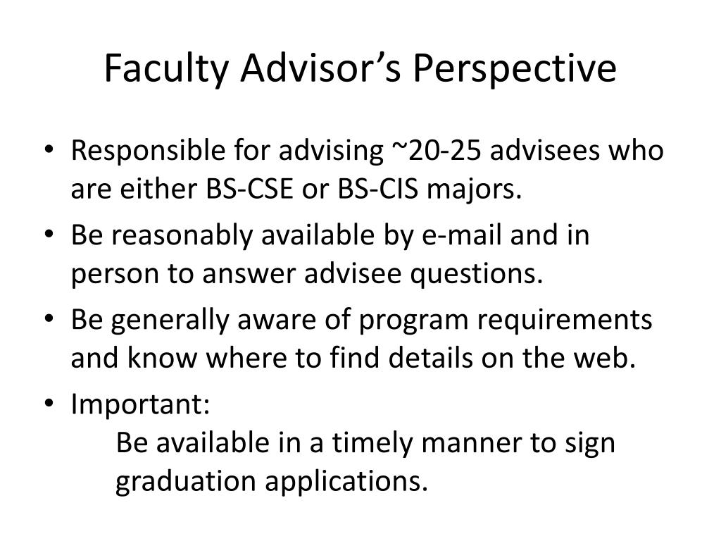 Faculty Advisor's Perspective