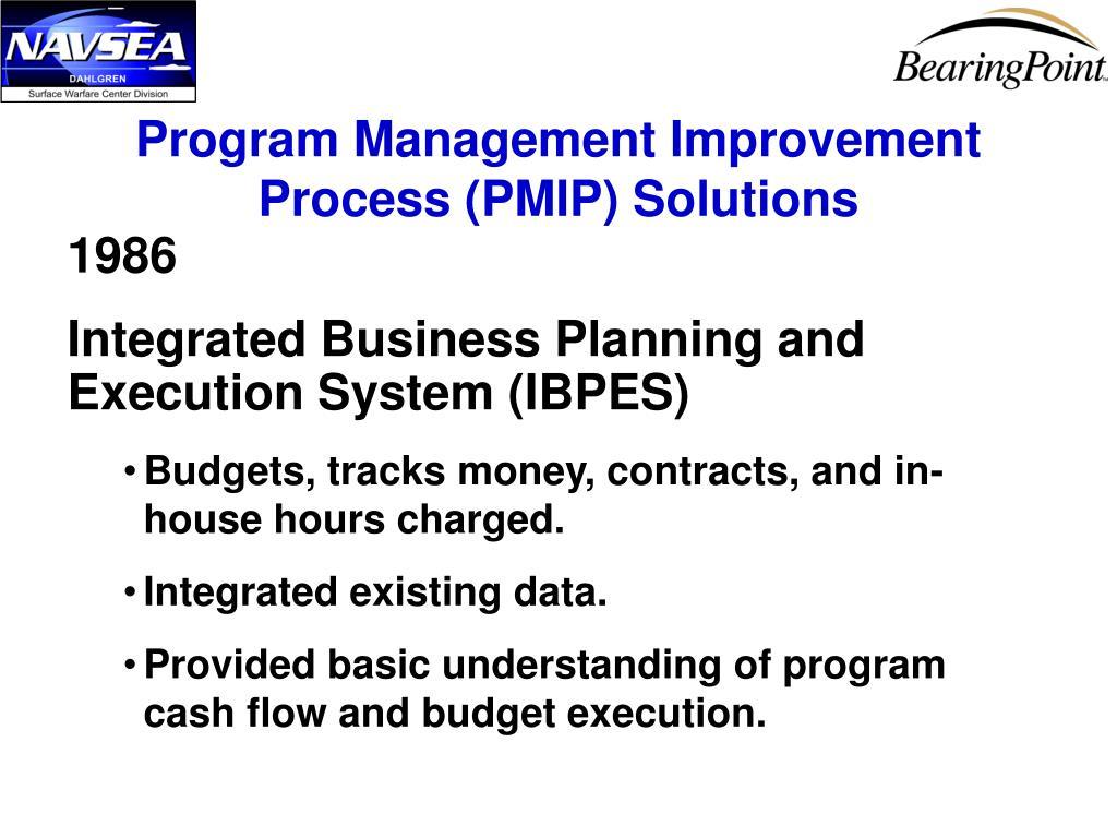 Program Management Improvement Process (PMIP) Solutions