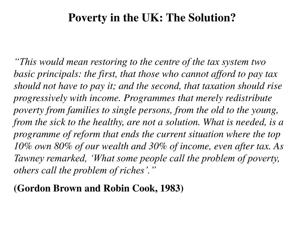 Poverty in the UK: The Solution?