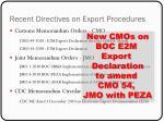 recent directives on export procedures