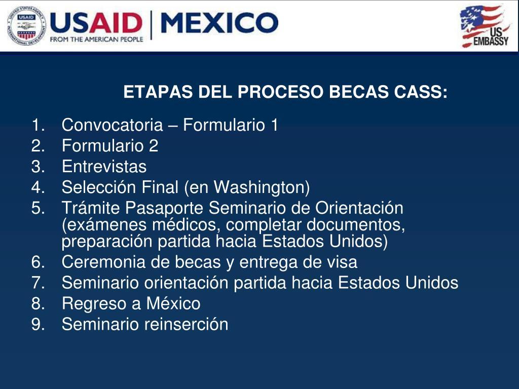 ETAPAS DEL PROCESO BECAS CASS: