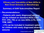 efficacy and tolerability of new aeds in new onset seizures as monotherapy