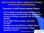 efficacy of new aed as adjunctive therapy in refractory partial epilepsy