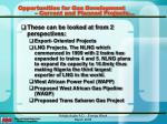 opportunities for gas development current and planned projects