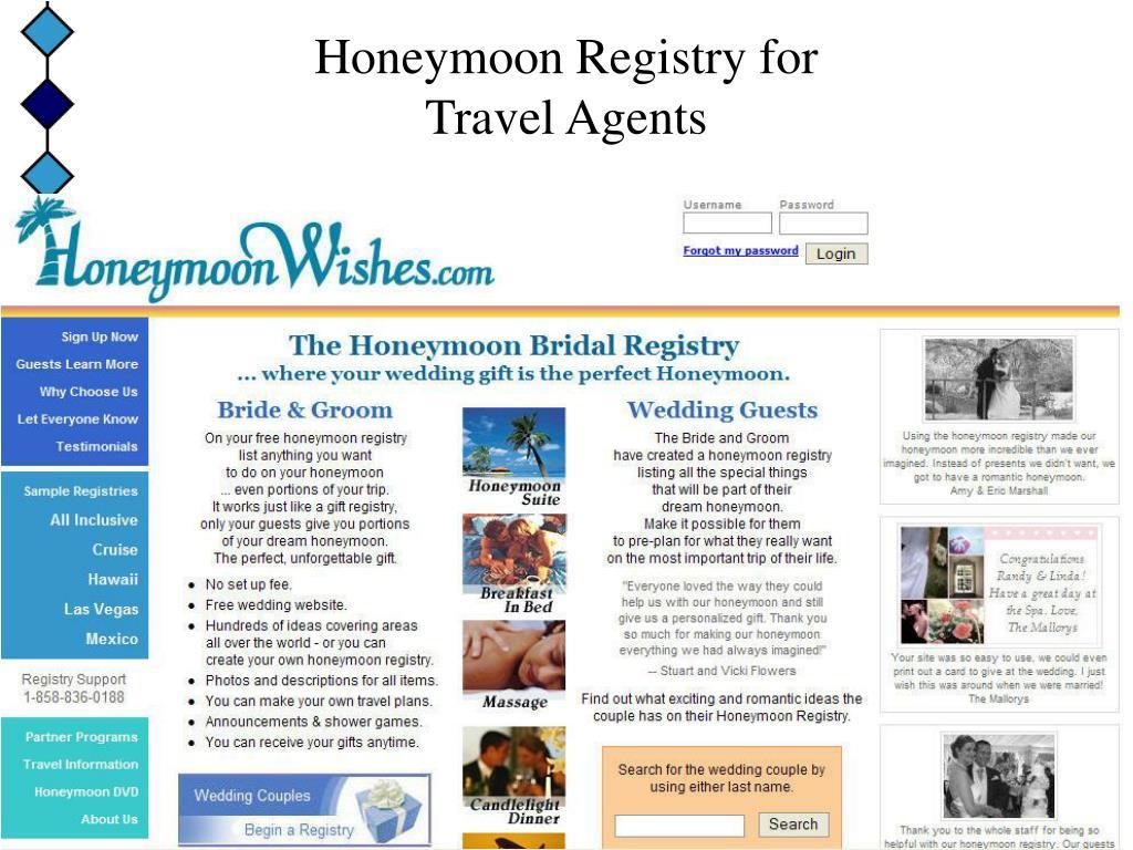 honeymoon registry for travel agents l.