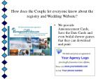 how does the couple let everyone know about the registry and wedding website