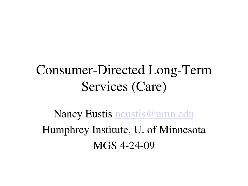 consumer directed long term services care l.