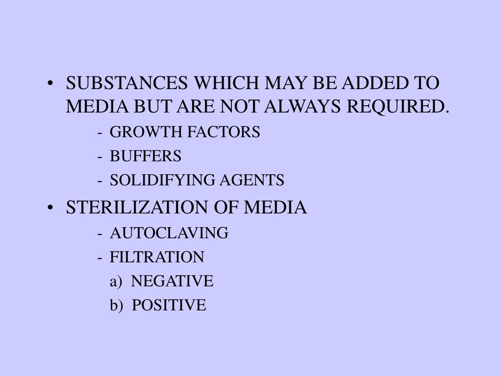 SUBSTANCES WHICH MAY BE ADDED TO MEDIA BUT ARE NOT ALWAYS REQUIRED.