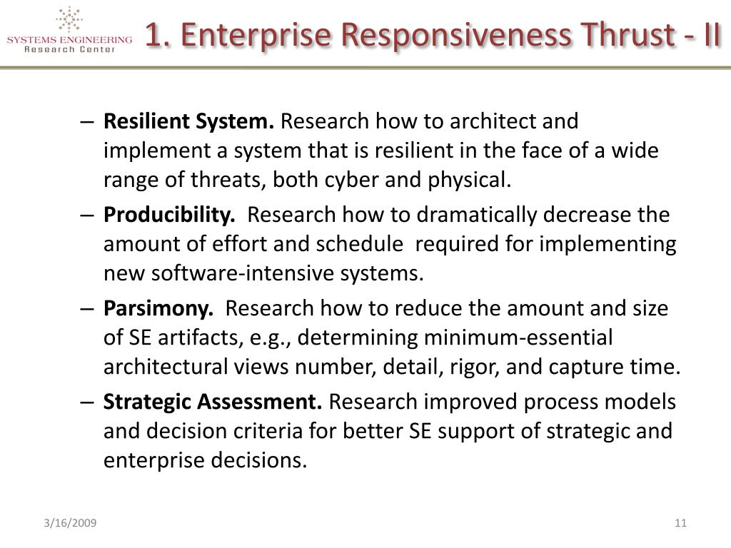 1. Enterprise Responsiveness Thrust - II