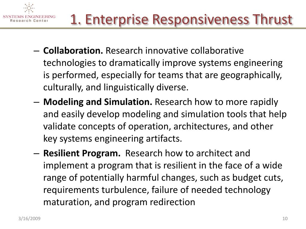 1. Enterprise Responsiveness Thrust