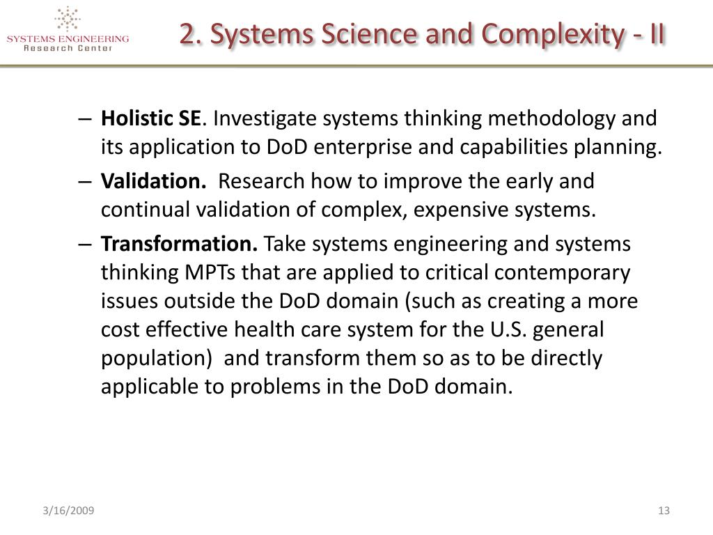 2. Systems Science and Complexity - II