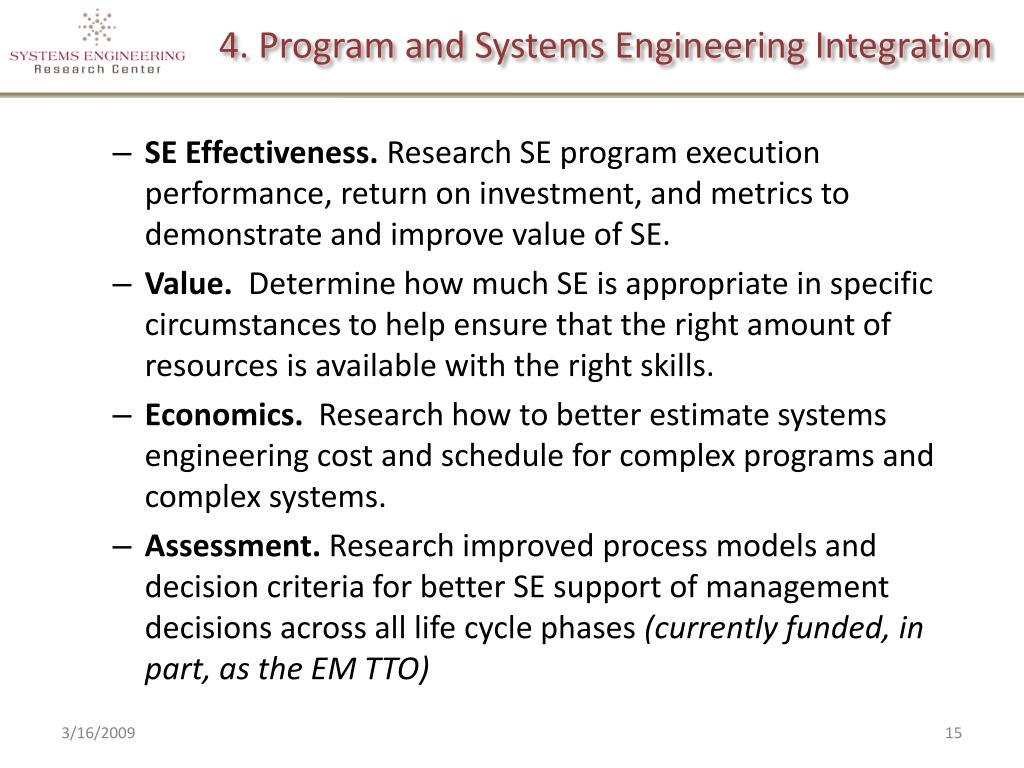 4. Program and Systems Engineering Integration