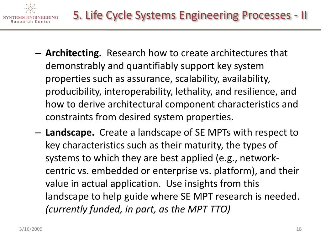 5. Life Cycle Systems Engineering Processes - II