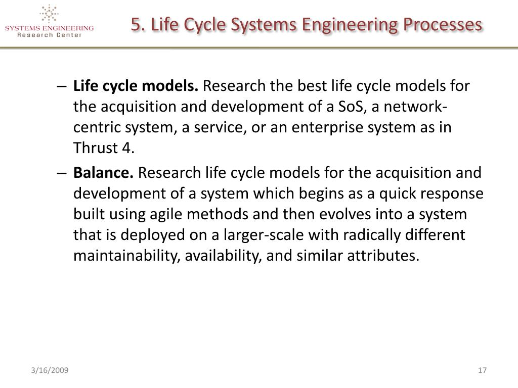 5. Life Cycle Systems Engineering Processes
