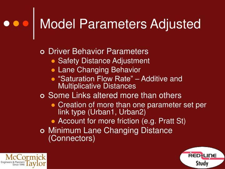 Model Parameters Adjusted