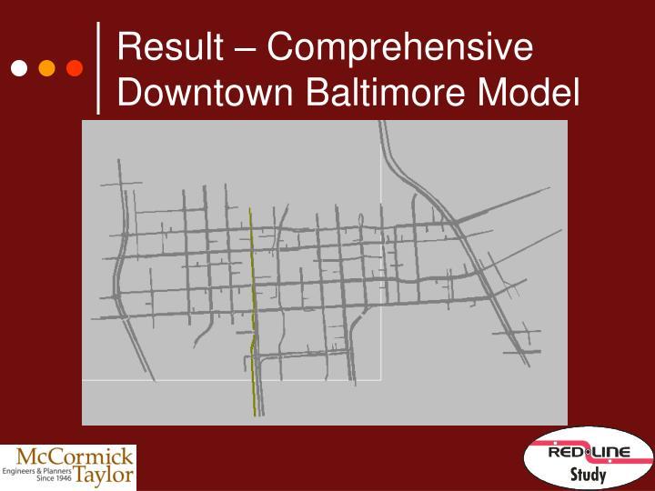 Result – Comprehensive Downtown Baltimore Model