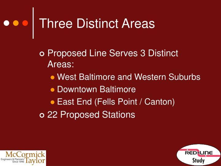 Three Distinct Areas