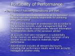 portability of performance