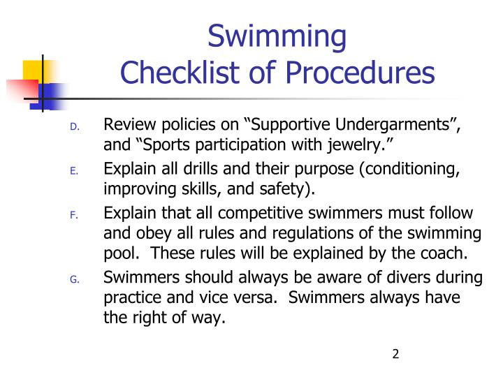 Swimming checklist of procedures2