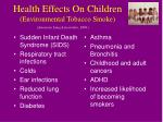 health effects on children environmental tobacco smoke